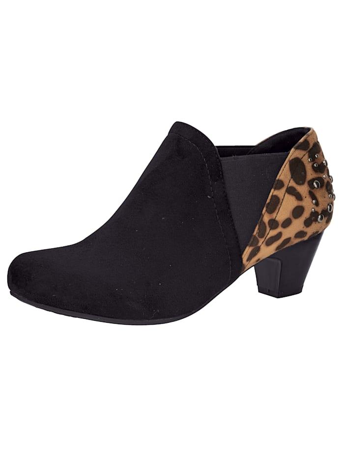Liva Loop Ankle boot met animalprint, Zwart
