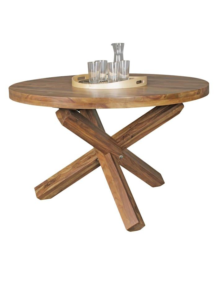 finebuy Esszimmertisch rund Ø 120 cm x 75 cm Massivholz Esstisch 4 Personen Küchentisch Tisch für Esszimmer, Dunkelbraun