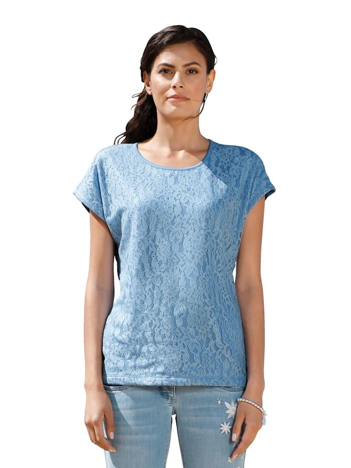 AMY VERMONT Shirt mit Spitze im Vorderteil, Blau