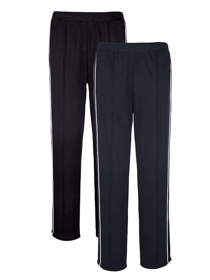 Joggingbroek met paspels opzij 2 stuks, zwart/marine/wit