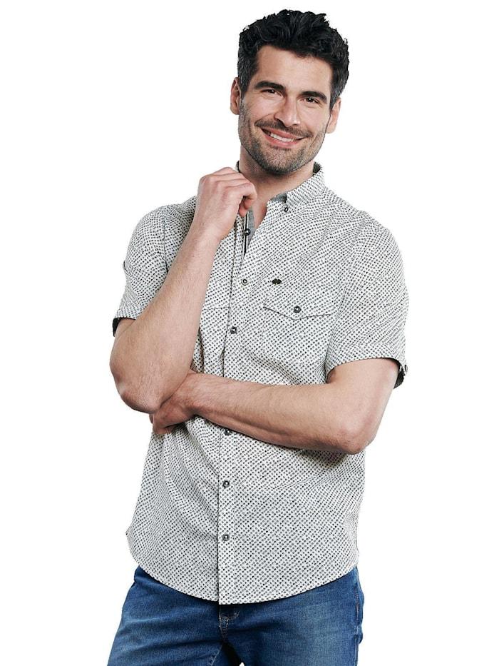 Engbers Stretch Hemd mit Kontrastdetails, Kieselgrau