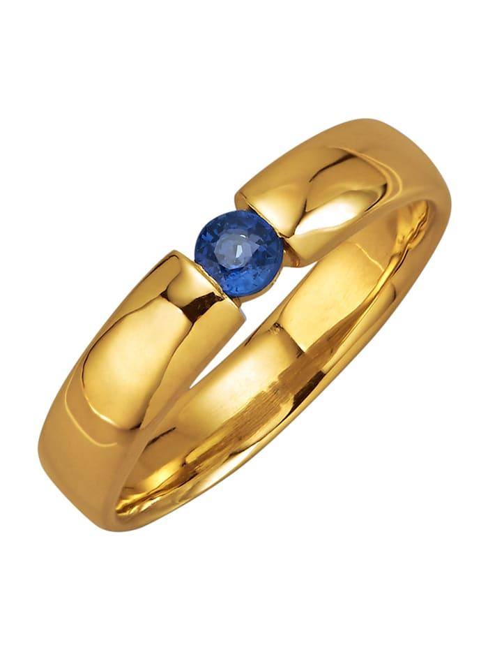 Diemer Farbstein Damenring mit Saphir, Blau