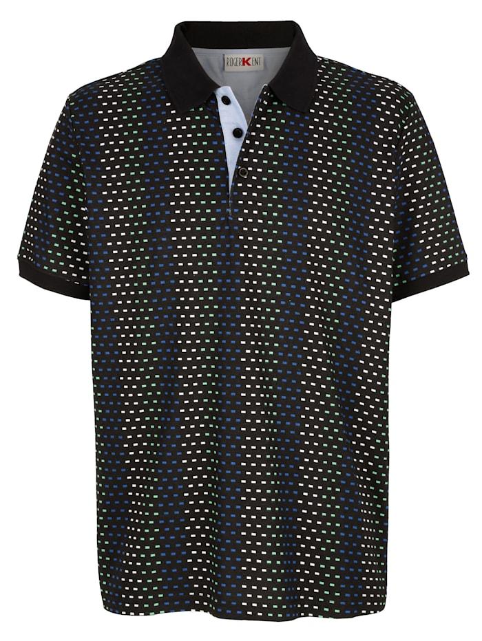 Roger Kent Poloshirt mit Allover-Druckmuster, Marineblau