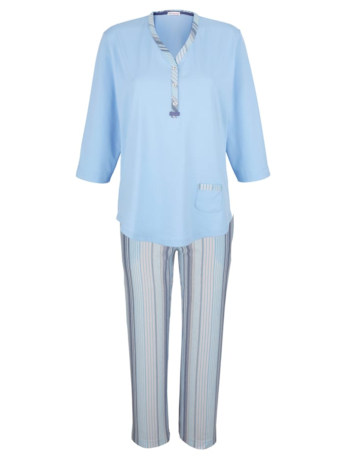 Hajo Schlafanzug mit aufgesetzter Tasche, Hellblau/Rauchblau