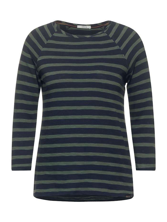 Cecil Raglan-Shirt mit Streifen, soft khaki