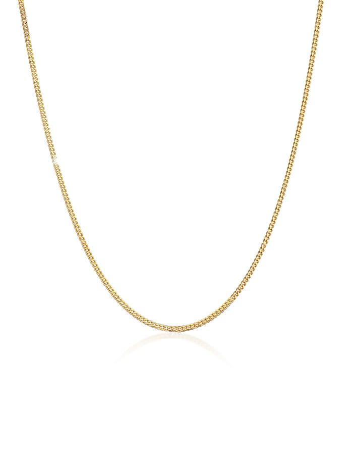 Elli Premium Halskette Panzerkette Basic Für Anhänger 925 Silber Vergoldet, Gold