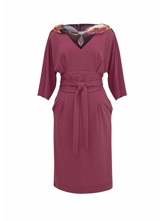 Wisell Abendkleid Midikleid mit V-Ausschnitt und Gürtel, rosa