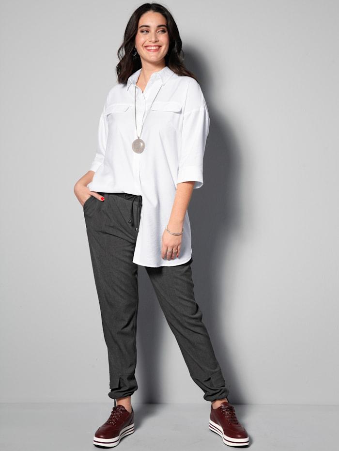 MIAMODA Longbluse mit überschnittenem Arm, Weiß