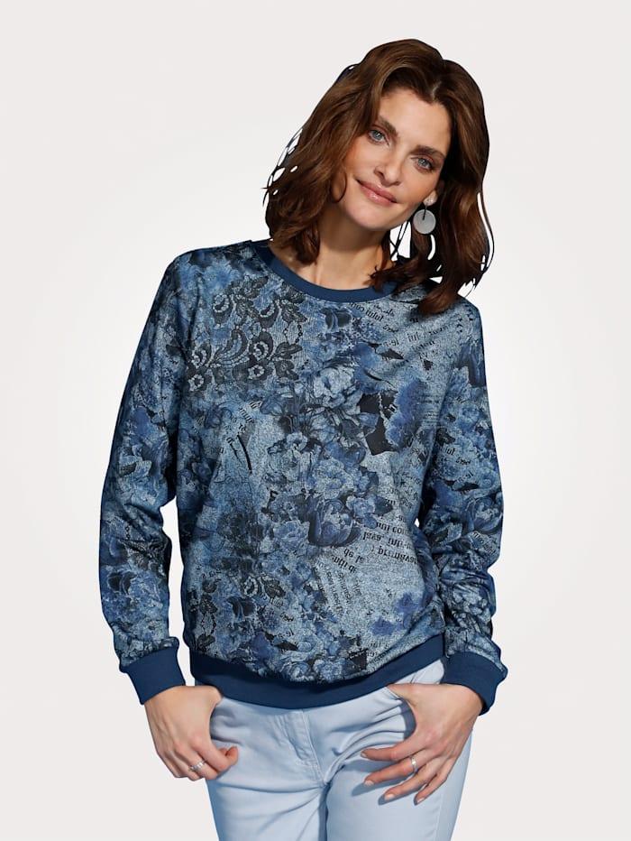 MONA Shirt met bloemenprint in jeanslook, Blauw