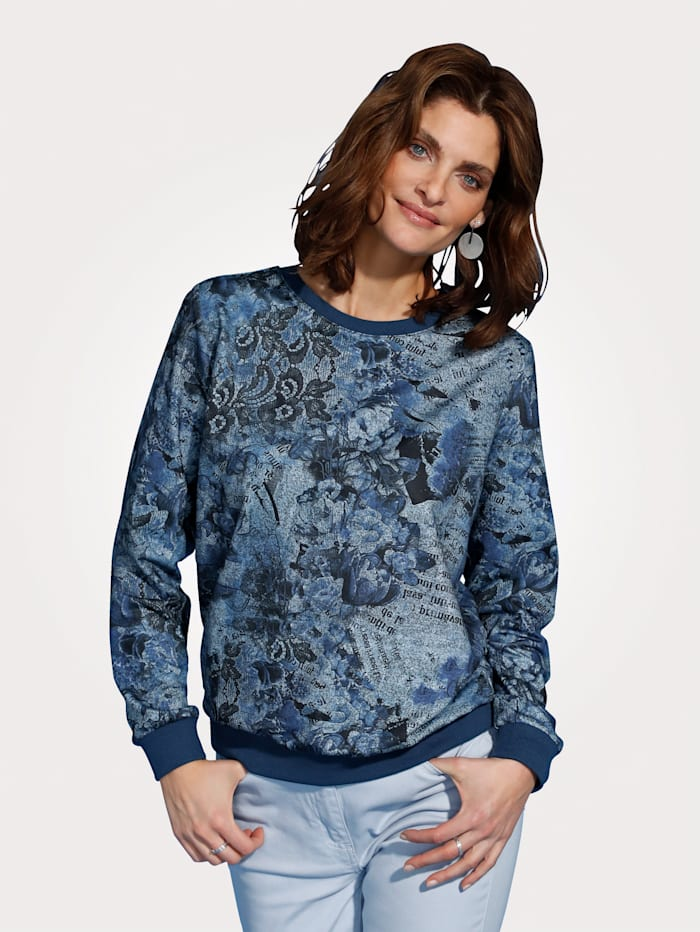 MONA Top with a floral print, Blue