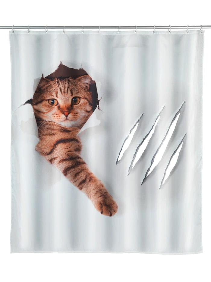 Wenko Duschvorhang Cute Cat, Textil (Polyester), 180 x 200 cm, waschbar, Mehrfarbig