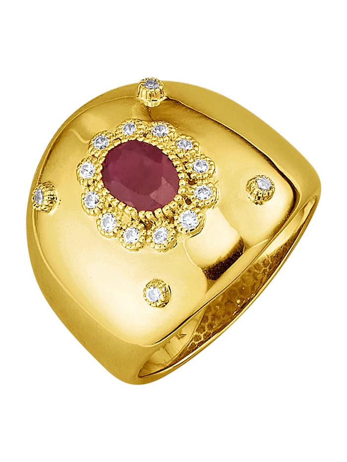 Damenring in Silber 925, Rot