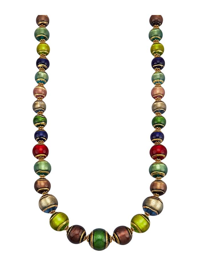 Muranoglas-Collier In Silber 925, vergoldet, Multicolor
