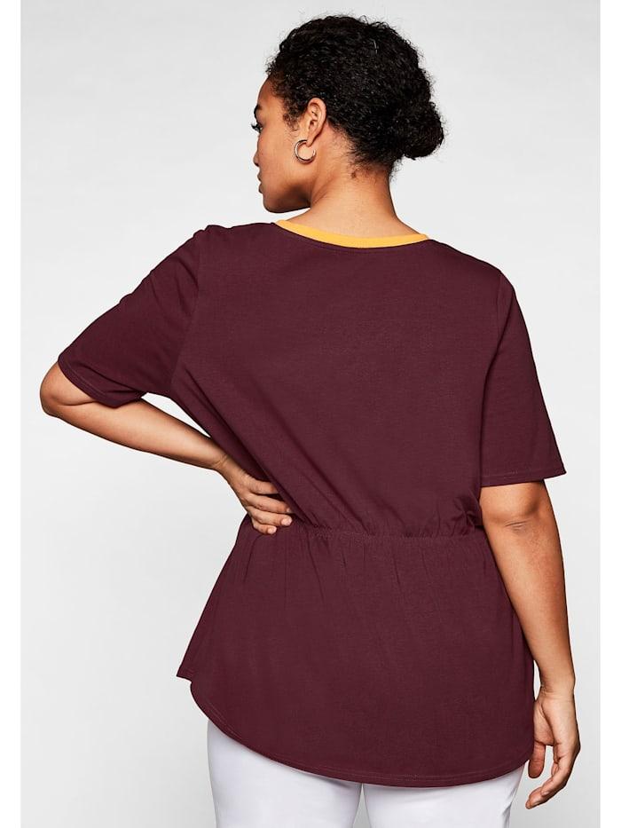 Shirt mit kontrastfarbenem V-Ausschnitt