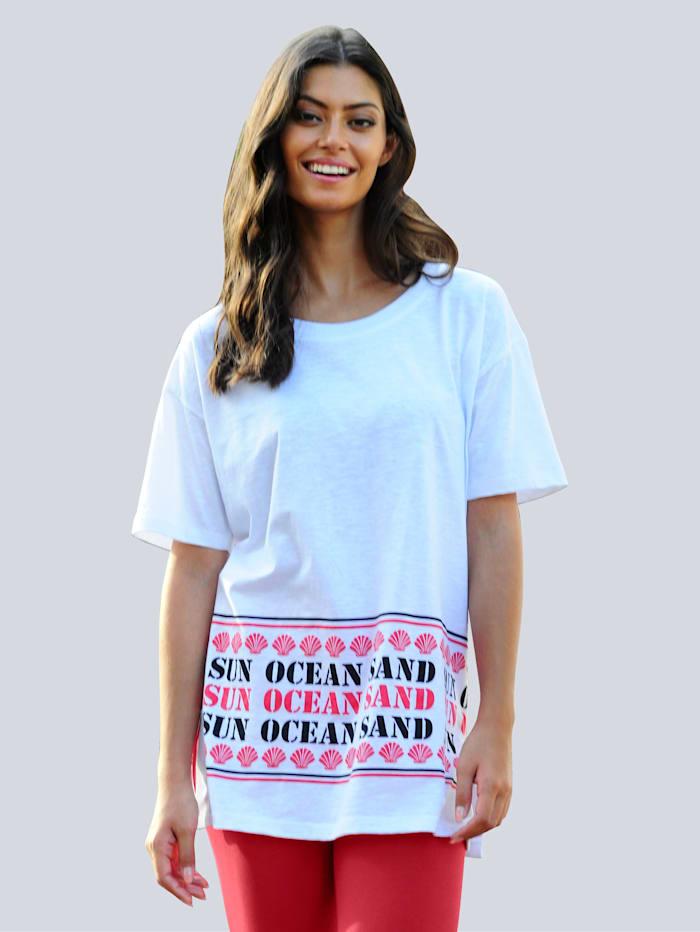 Alba Moda Strandshirt mit Wording-Print, Weiß