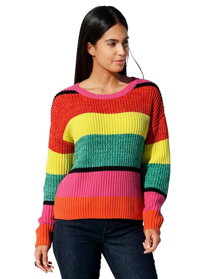 Lieblingsstück Pullover mit Blockstreifen allover, Rot/Gelb/Grün