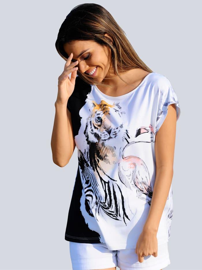 Alba Moda Strandshirt im Zeichenstil, Weiß