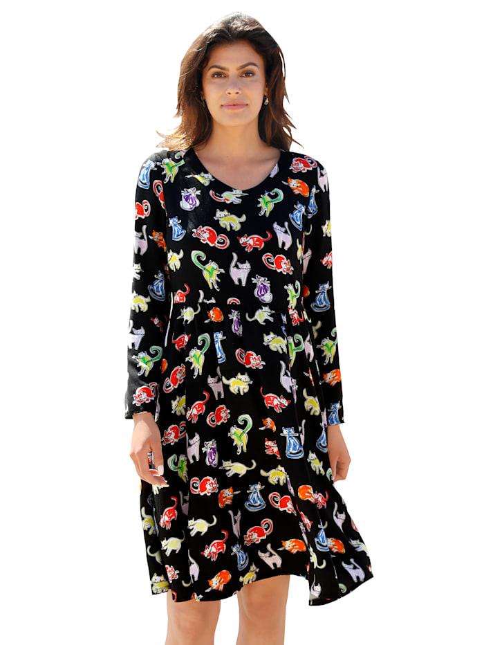 AMY VERMONT Kleid mit Katzen-Druck allover, Schwarz/Grün/Orange