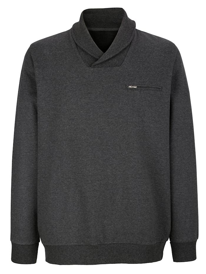 Roger Kent Sweatshirt mit Schalkragen, Anthrazit