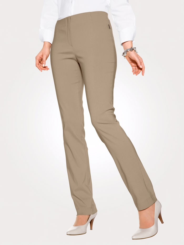 MONA Pull-on trousers made from a soft stretch fabric, Beige