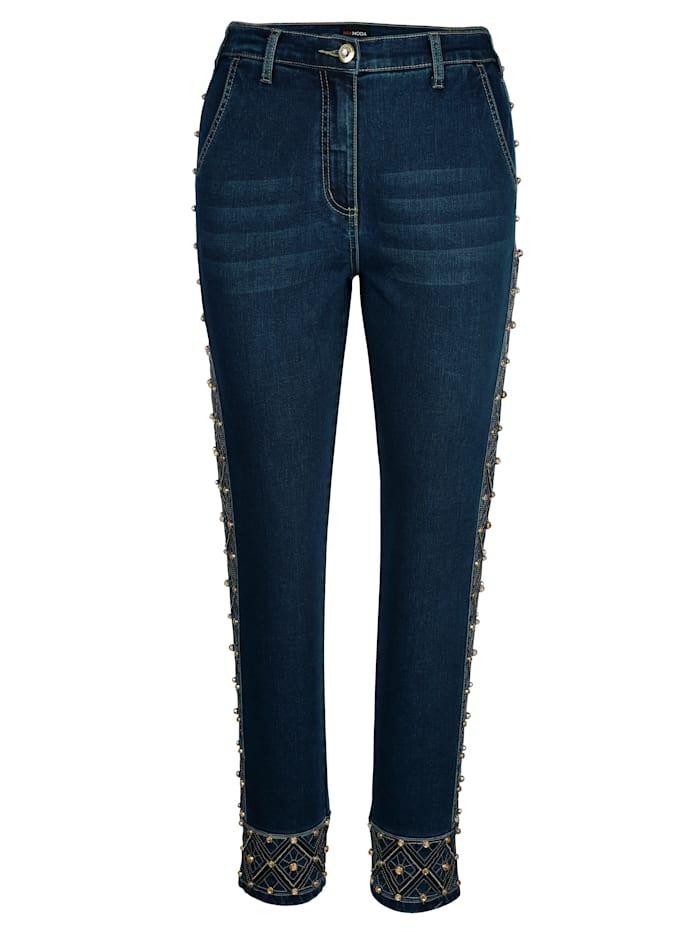 MIAMODA Jeans met kraaltjesborduursel, Blue stone