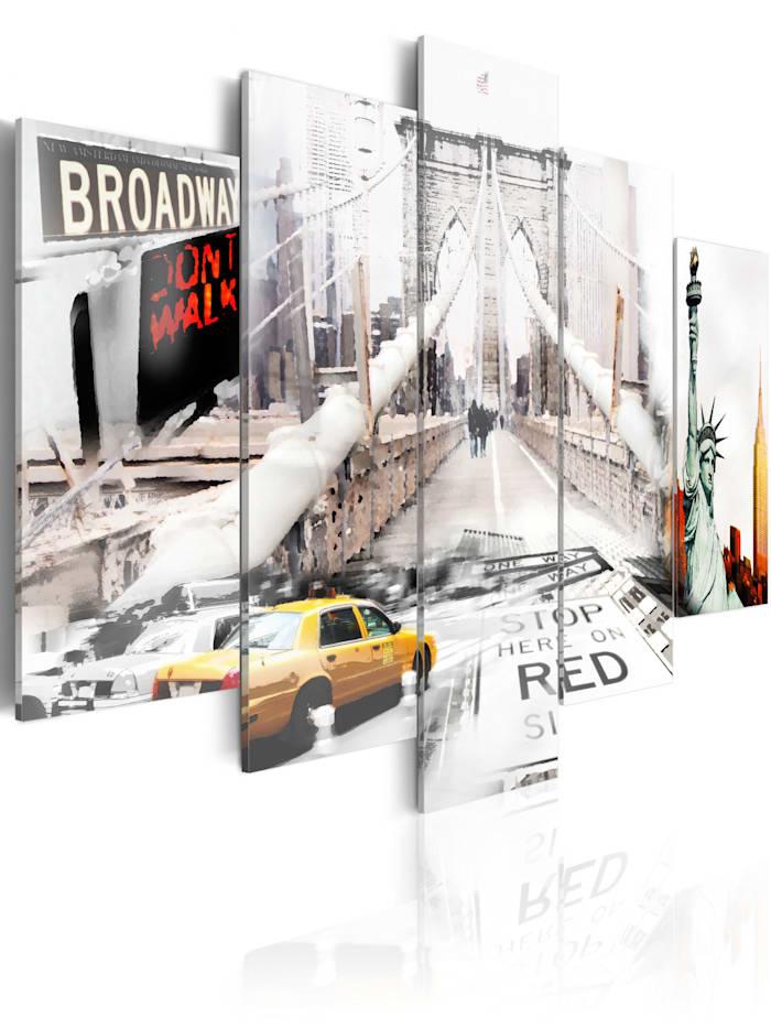 artgeist Wandbild New York im Nebel, Weiß,Gelb,Beige,Grau