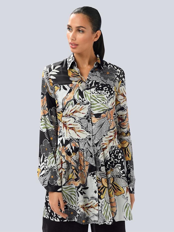 Alba Moda Bluse mit floralem allover Print, Schwarz/Off-white