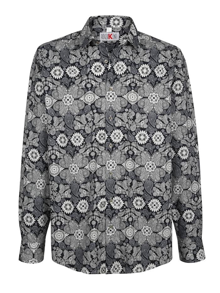 Roger Kent Overhemd met paisley- en bloemenprint, Zwart/Grijs