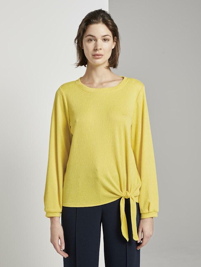 Tom Tailor langarmshirt in Crincle-Optik mit Knoten-Detail, jasmine yellow