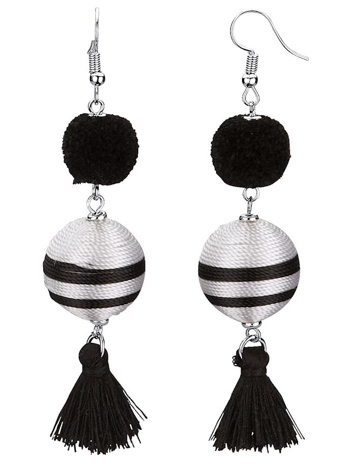 KLiNGEL Ohrhaken mit Quaste, Schwarz/Weiß