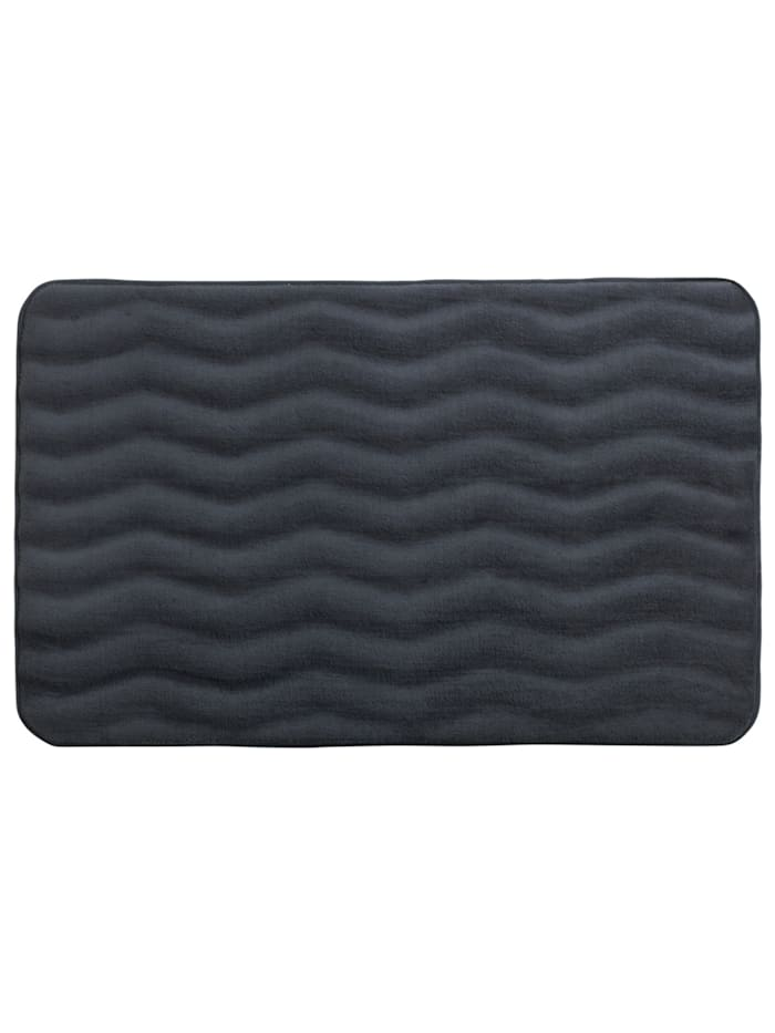 Wenko Badteppich Memory Foam Waves Dunkelgrau, 50 x 80 cm, Oberfläche: Grau - Anthrazit, Füllung, Rückseite