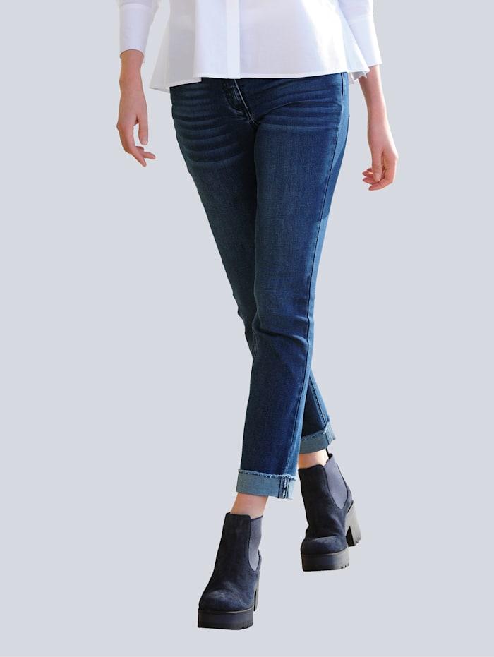 Alba Moda Jeans mit Aufschlag am Saum, Blau