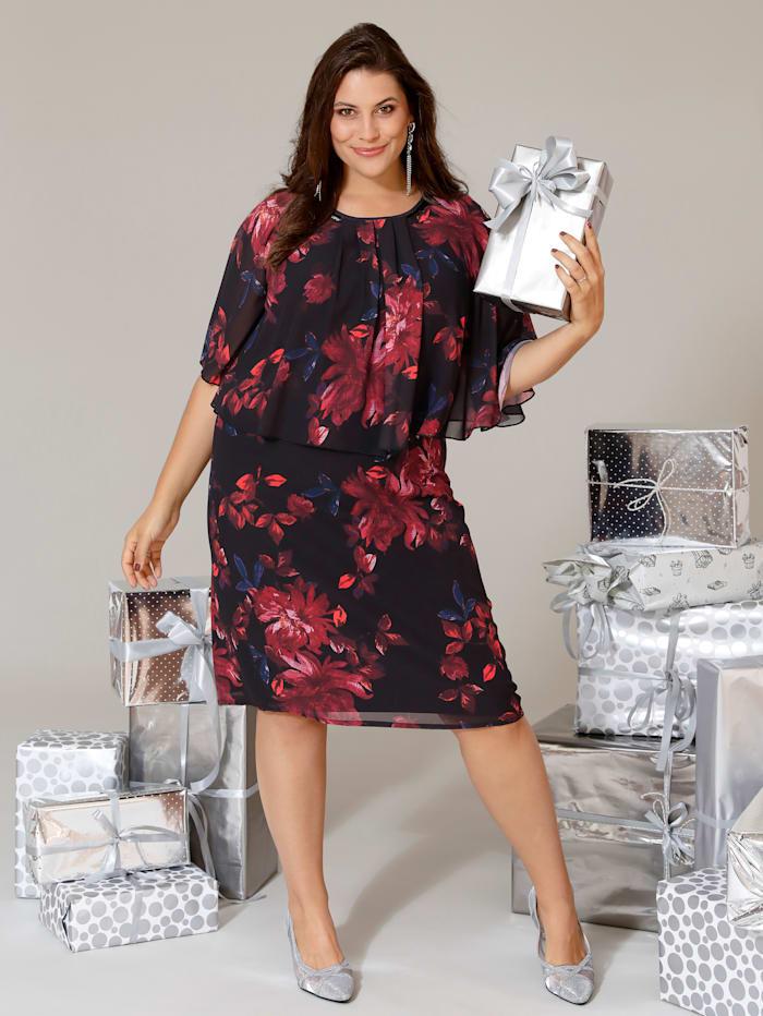 MIAMODA Kleid mit elegantem Blumendruck, Schwarz/Bordeaux