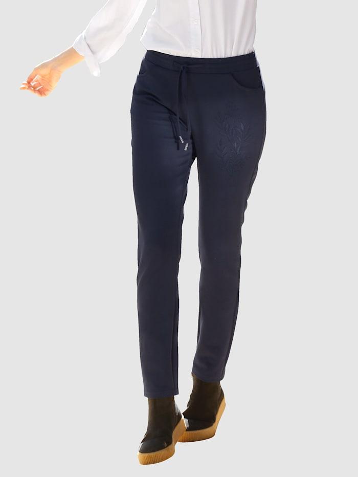 Paola Jersey broek met bloemenborduursel, Marine