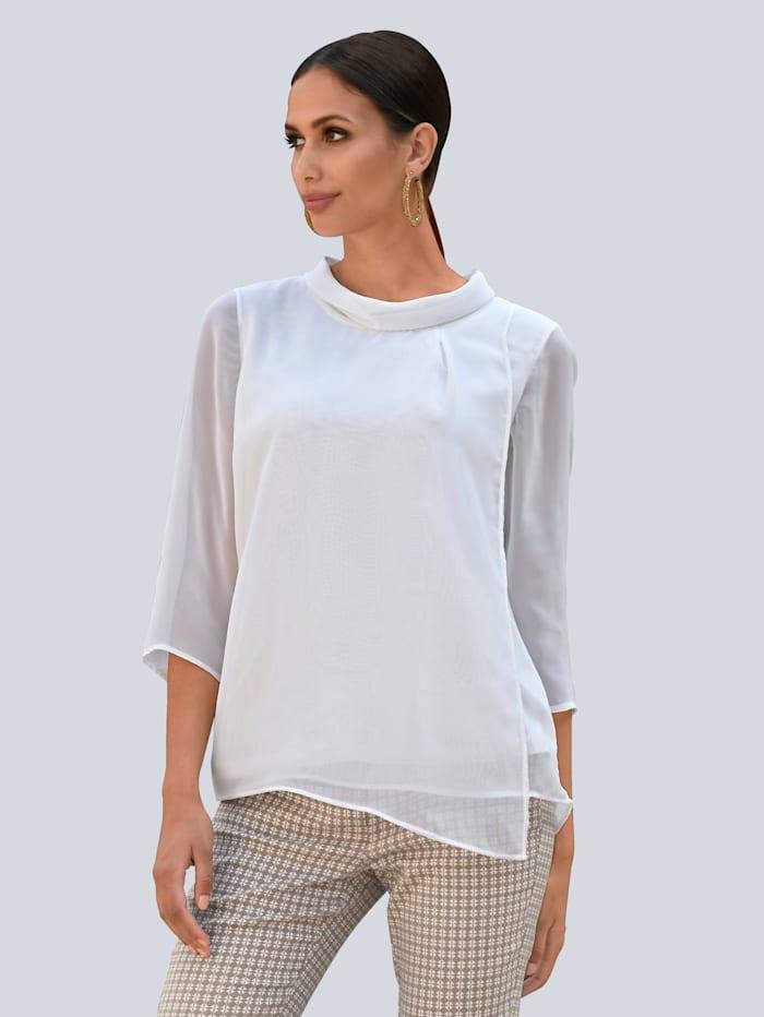 Alba Moda Bluse aus Chiffon, Weiß