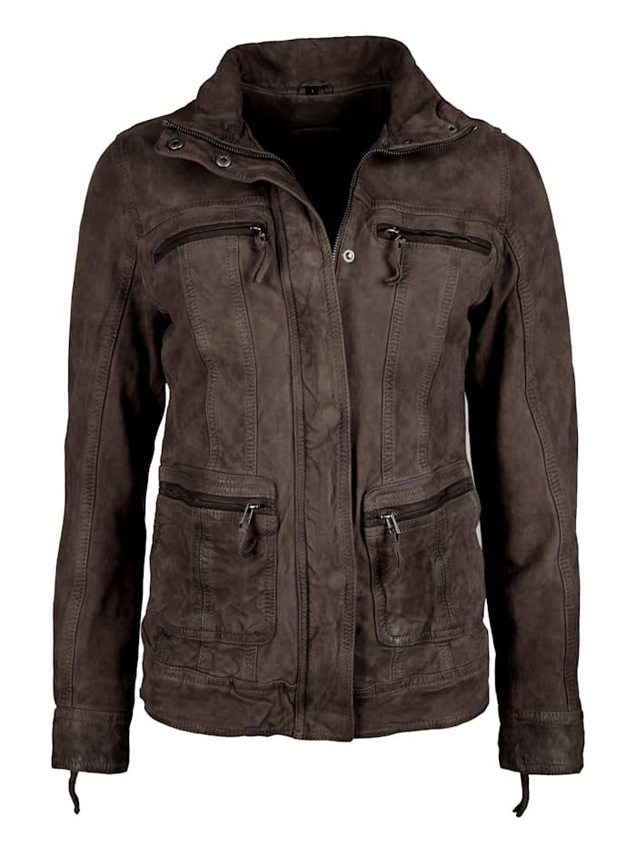 JCC Lederjacke Damen mit Brusttaschen und Stehkragen, brown