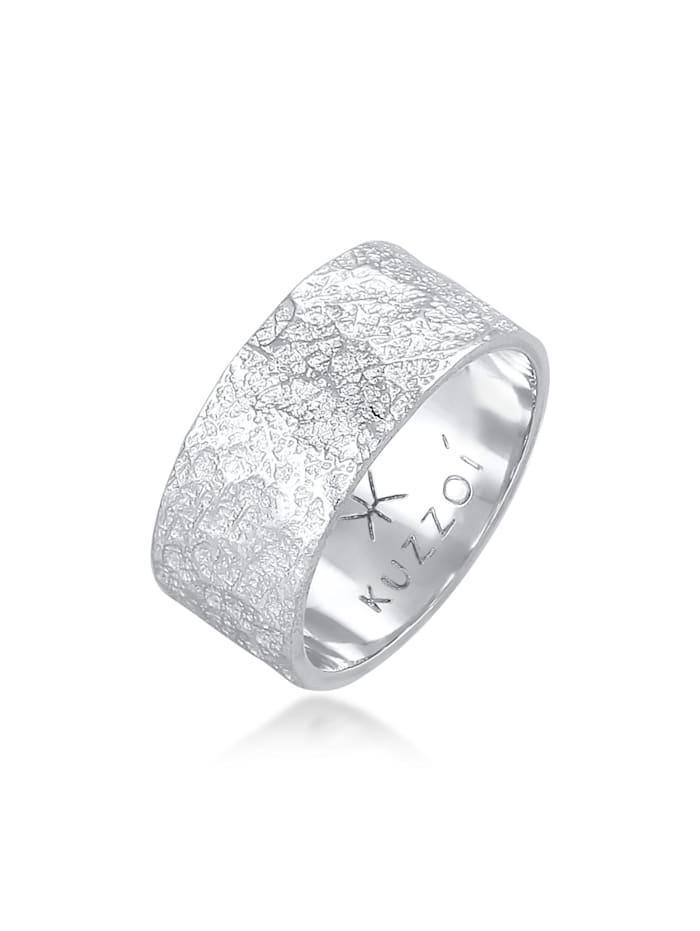 Kuzzoi Ring Herren Bandring Organic Struktur 925 Silber, Grau