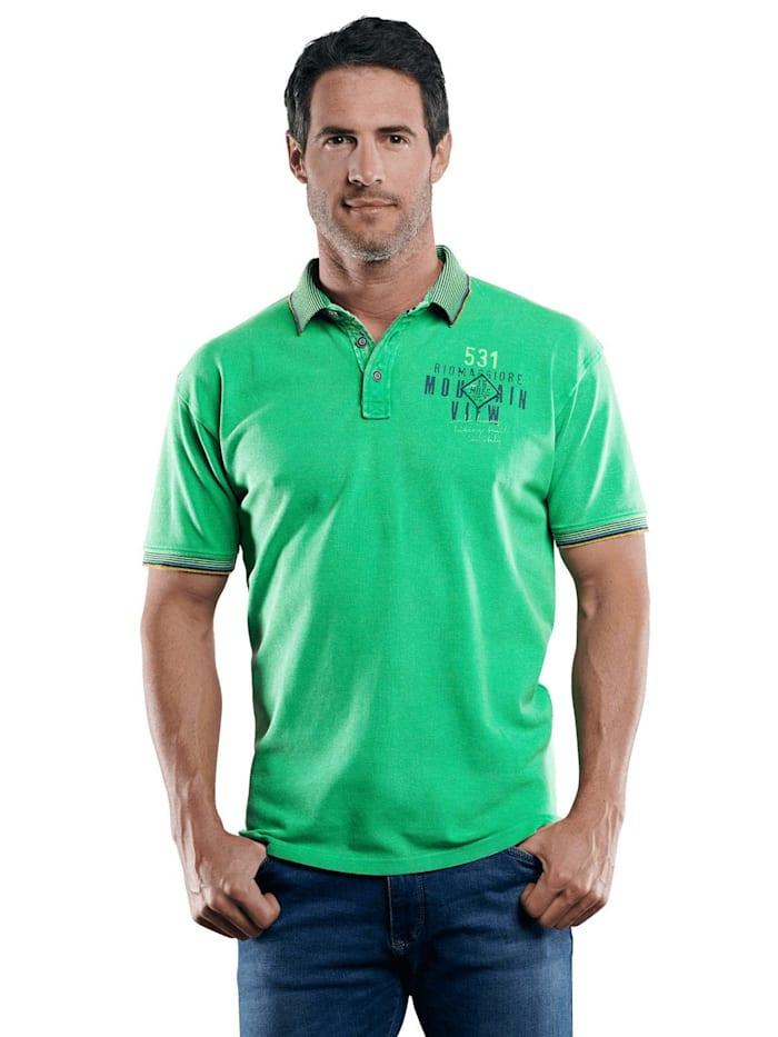 Engbers Poloshirt mit Konrasteffekten, Grasgrün