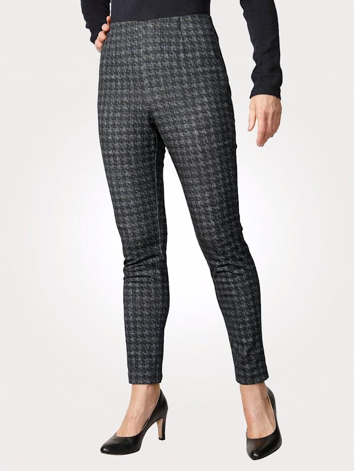 MONA Pantalon facile à enfiler à motif prince-de-galles, Marine/Bleu fumée