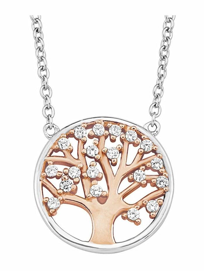 amor Kette mit Anhänger für Damen, Sterling Silber 925, Zirkonia Lebensbaum, Bicolor