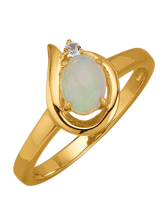 Damesring met opaal en witte topaas, Wit