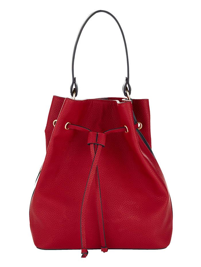 LOUIZ & LOU Handbag in an all-over stripe design, red/black/white