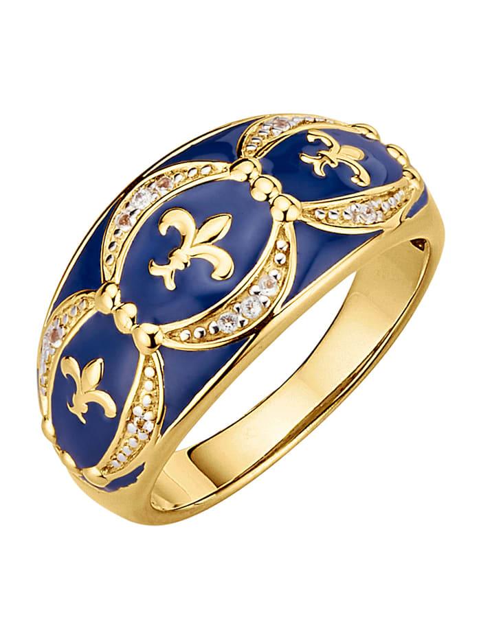 Diemer Silber Damenring, Blau