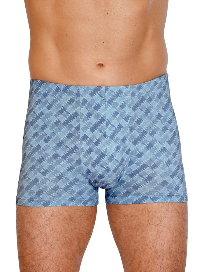 G Gregory Boxershort met modieus dessin, 1x grijs, 1x blauw