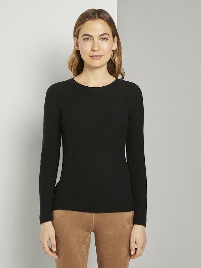 Tom Tailor Strukturierter Pullover, Deep Black