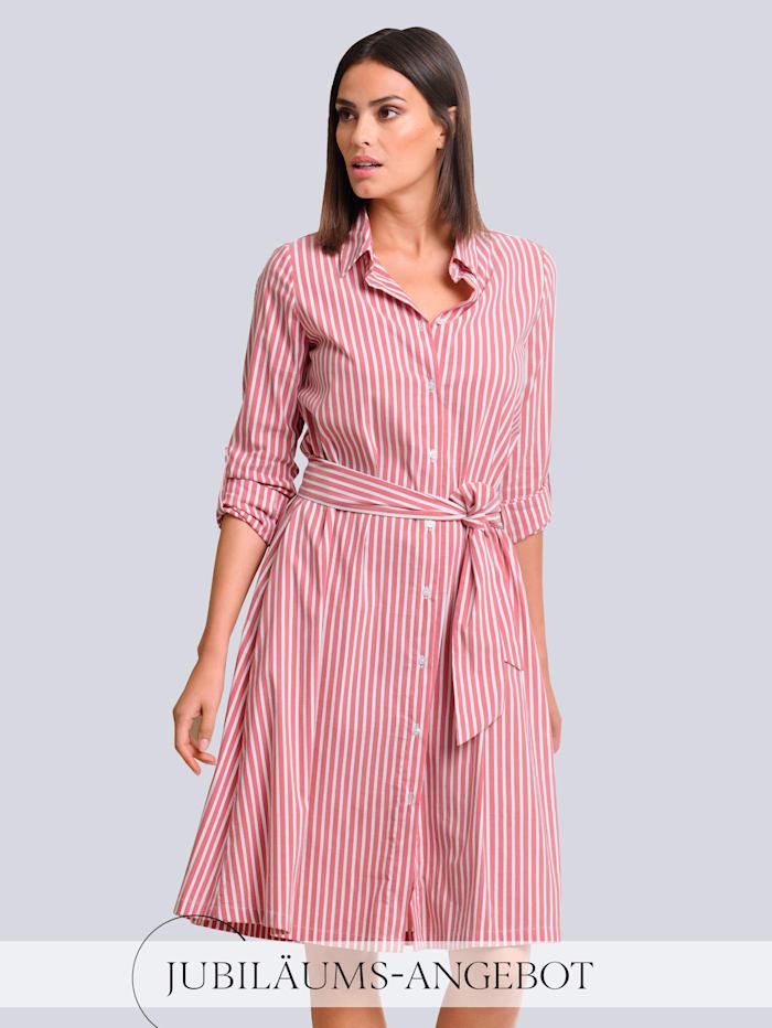 Alba Moda Kleid im Streifendessin allover, Koralle/Weiß