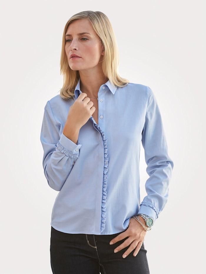 MONA Blouse with decorative ruffles, Blue/White
