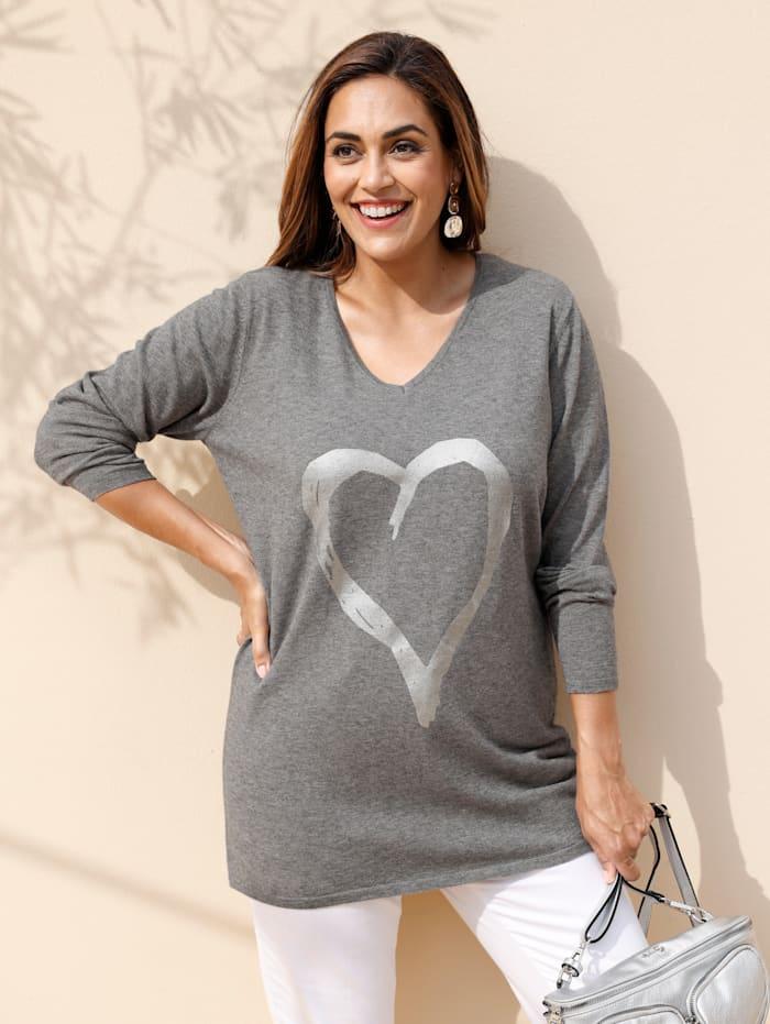 MIAMODA Pullover mit glänzendem Herz-Print, Grau