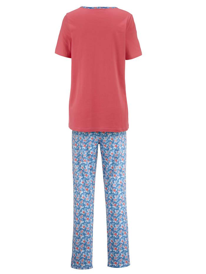 Pyjama met paspel aan de hals