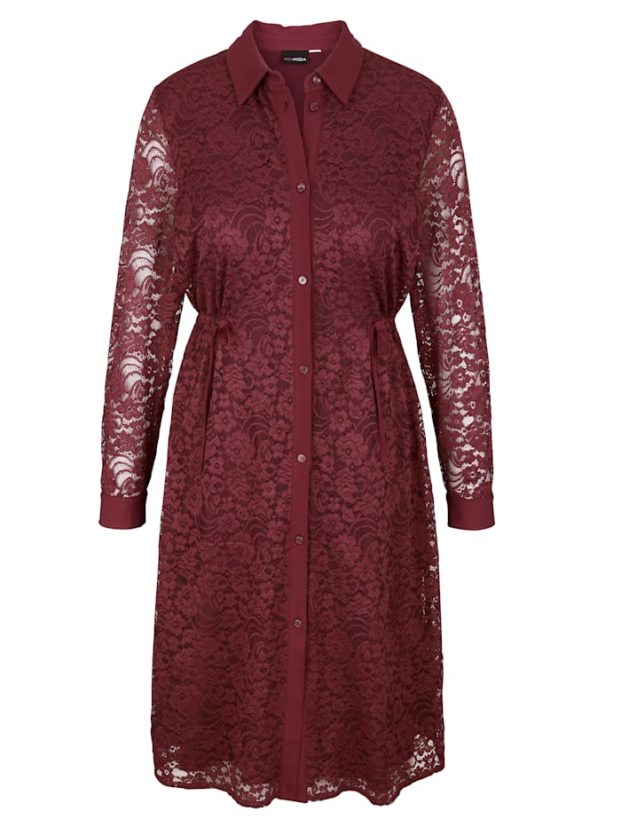 MIAMODA Spetsklänning med krage och knappslå, Bordeaux